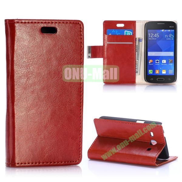 Crazy Horse Texture Magnetic Flip Stand Leather Case for Samsung Galaxy Star 2 Plus G350E with Card Slots (Brown)