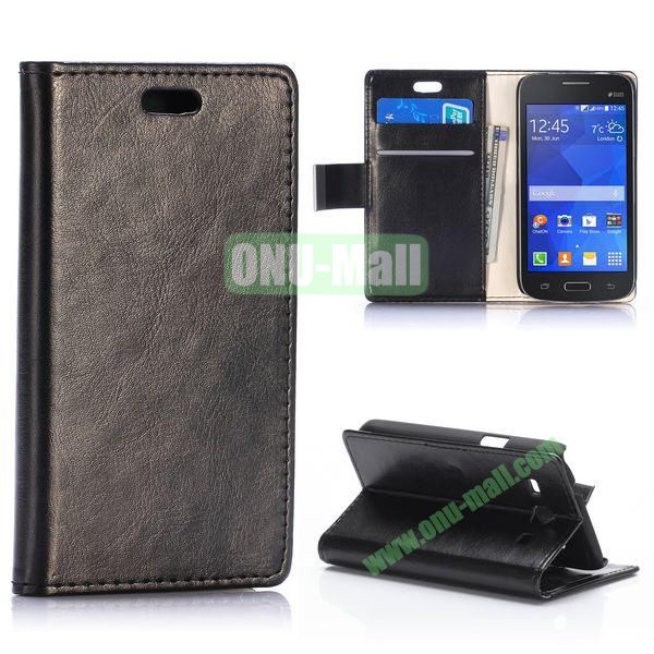 Crazy Horse Texture Magnetic Flip Stand Leather Case for Samsung Galaxy Star 2 Plus G350E with Card Slots (Black)