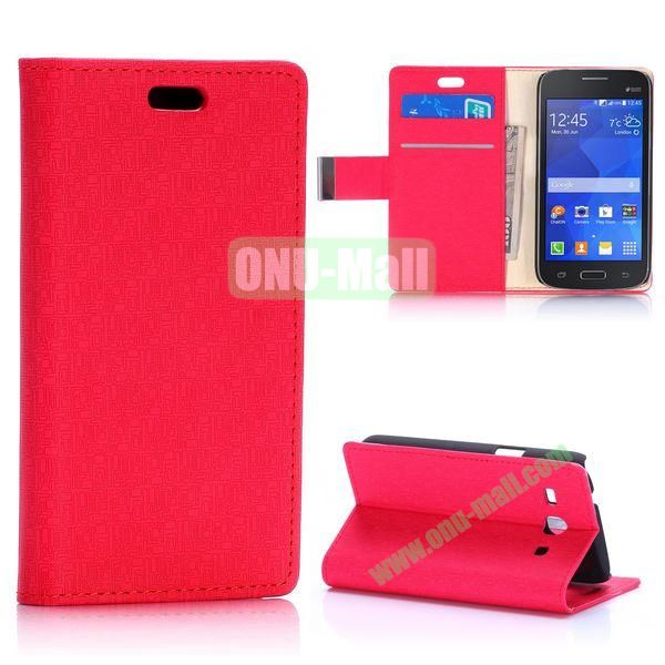 Maze Pattern Magnetic Flip Stand Leather Case for Samsung Galaxy Star 2 Plus G350E with Card Slots (Red)