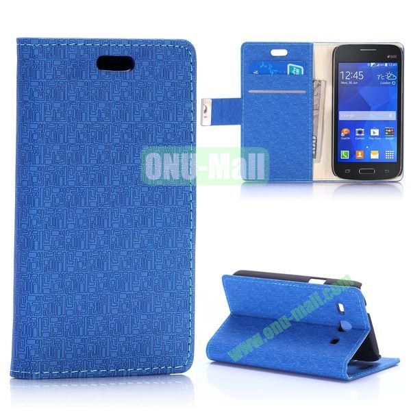 Maze Pattern Magnetic Flip Stand Leather Case for Samsung Galaxy Star 2 Plus G350E with Card Slots (Blue)