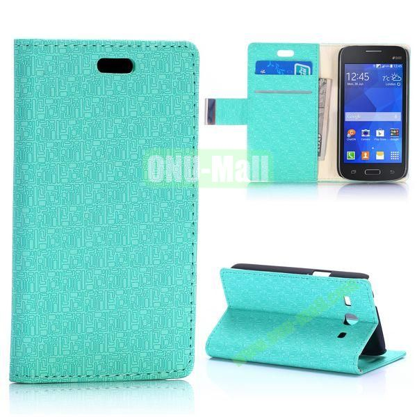 Maze Pattern Magnetic Flip Stand Leather Case for Samsung Galaxy Star 2 Plus G350E with Card Slots (Mint Green)