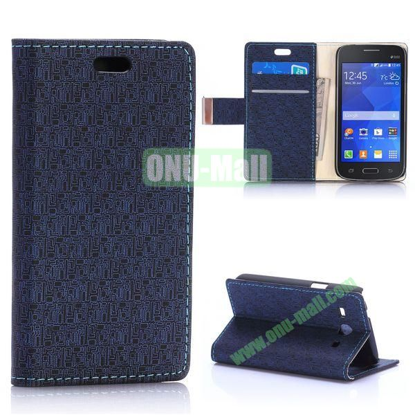 Maze Pattern Magnetic Flip Stand Leather Case for Samsung Galaxy Star 2 Plus G350E with Card Slots (Black)