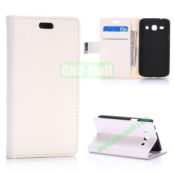 Fashion Magnetic Flip Stand Leather Case for Samsung Galaxy Star 2 Plus G350E with Card Slots (White)