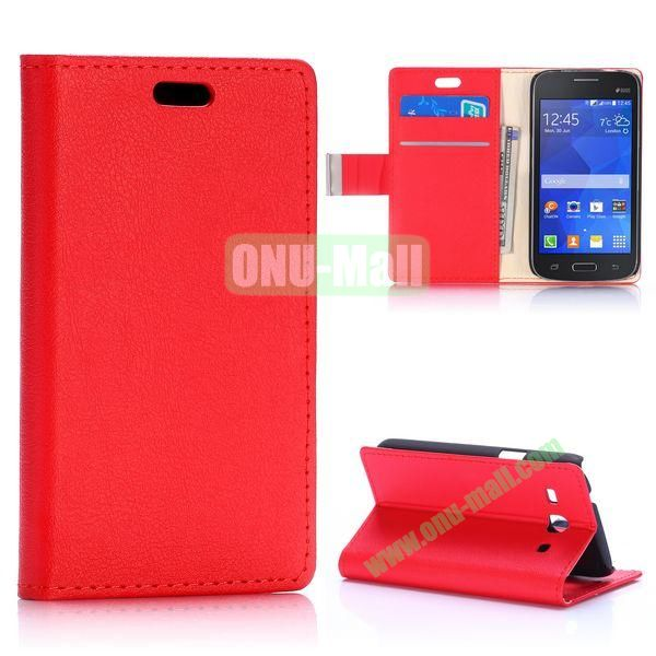 Fashion Magnetic Flip Stand Leather Case for Samsung Galaxy Star 2 Plus G350E with Card Slots (Red)