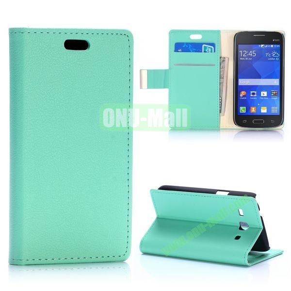 Fashion Magnetic Flip Stand Leather Case for Samsung Galaxy Star 2 Plus G350E with Card Slots (Mint Green)