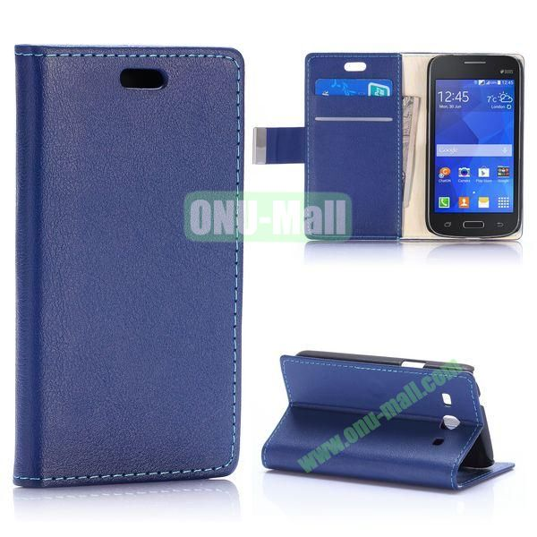 Fashion Magnetic Flip Stand Leather Case for Samsung Galaxy Star 2 Plus G350E with Card Slots (Dark Blue)