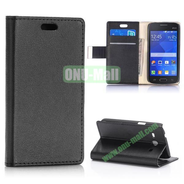 Fashion Magnetic Flip Stand Leather Case for Samsung Galaxy Star 2 Plus G350E with Card Slots (Black)