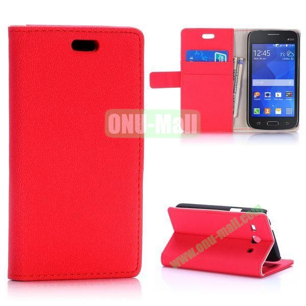 Gravel Pattern Magnetic Flip Stand Leather Case for Samsung Galaxy Star 2 Plus G350E with Card Slots (Red)