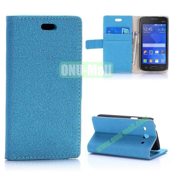 Gravel Pattern Magnetic Flip Stand Leather Case for Samsung Galaxy Star 2 Plus G350E with Card Slots (Blue)