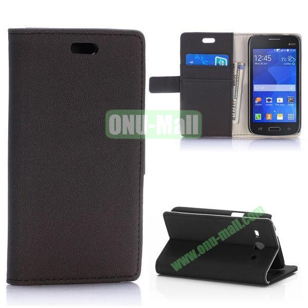 Gravel Pattern Magnetic Flip Stand Leather Case for Samsung Galaxy Star 2 Plus G350E with Card Slots (Black)