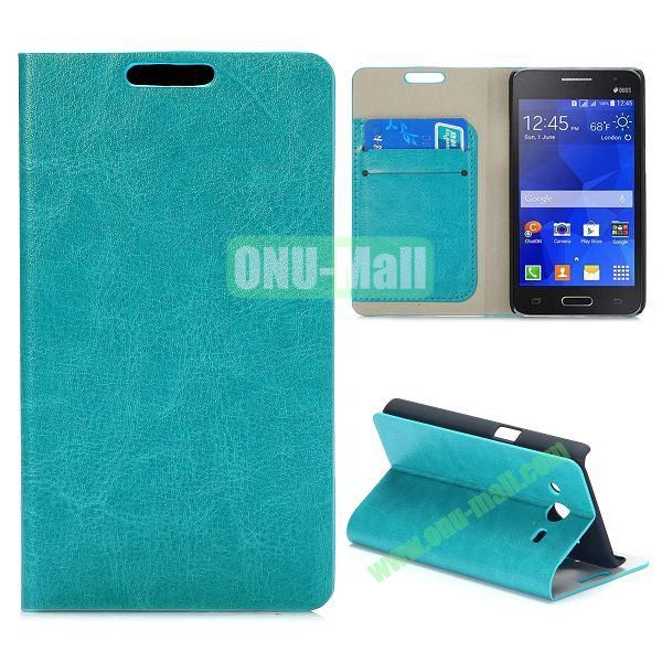 Wood Grain Pattern Flip Stand Leather Case for Samsung Galaxy Core 2 G355H G3559 (Cyan)