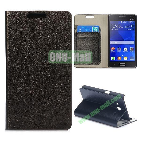 Wood Grain Pattern Flip Stand Leather Case for Samsung Galaxy Core 2 G355H G3559 (Black)