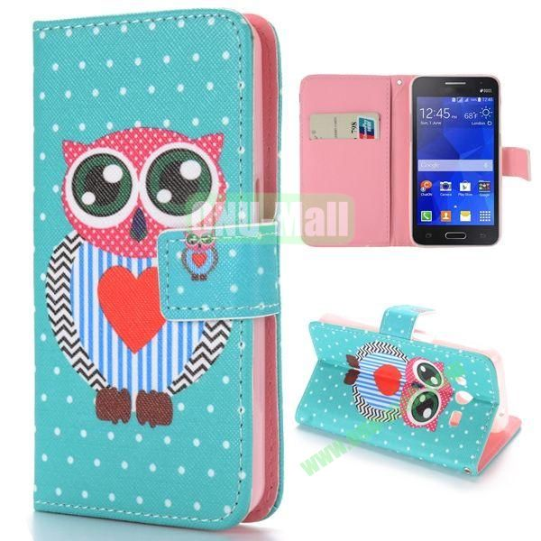 Cute Owl Pattern Cross Texture Magnetic Flip Stand TPU+PU Leather Case for Samsung Galaxy Core 2 G355H G3559