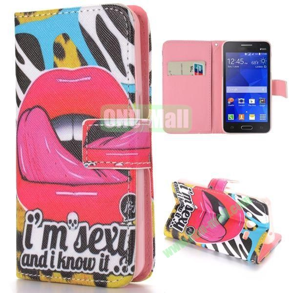 Sexy Lip Pattern Cross Texture Magnetic Flip Stand TPU+PU Leather Case for Samsung Galaxy Core 2 G355H G3559