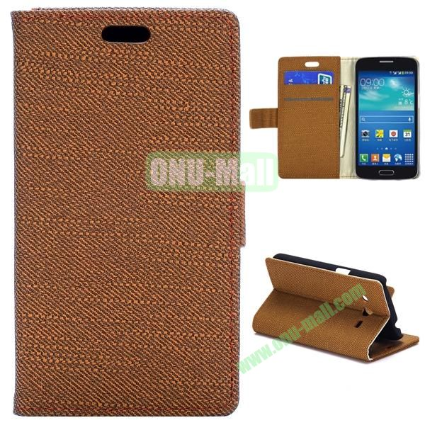 Cloth Texture Flip Stand Leather Case For Samsung Galaxy Core LTE G386F (Brown)
