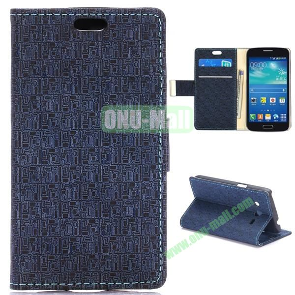 Maze Pattern Flip Stand Leather Case For Samsung Galaxy Core LTE G386F (Dark Blue)