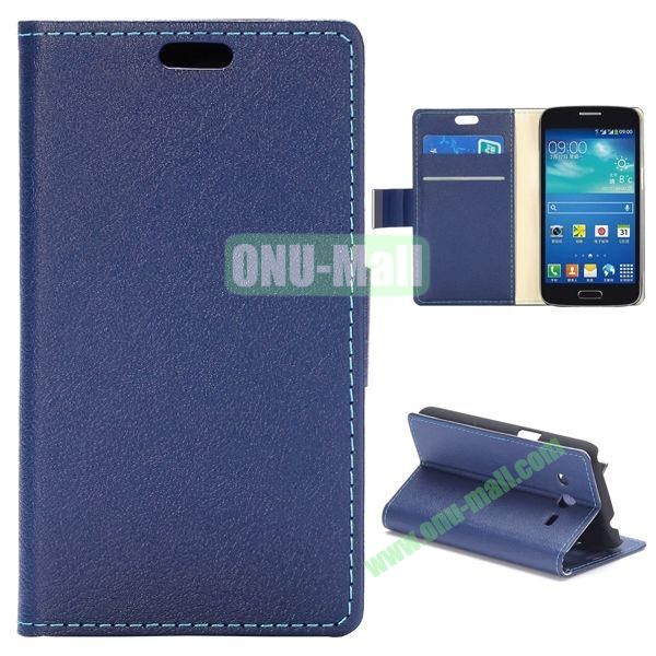 Fashion Magnetic Flip Stand Leather Case for Samsung Galaxy Core LTE G386F (Dark Blue)