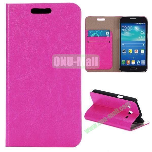 Crazy Horse Texture Magnetic Flip Stand Leather Case for Samsung Galaxy Core LTE G386F (Rose)