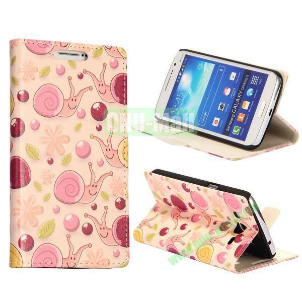 Snails Pattern Wallet Style Flip Stand Leather Case with Card Slots for Samsung Galaxy Grand  G7106