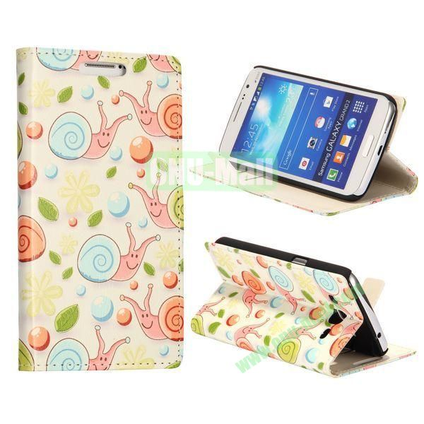 Lovely Snails Pattern Wallet Style Flip Stand Leather Case with Card Slots for Samsung Galaxy Grand  G7106