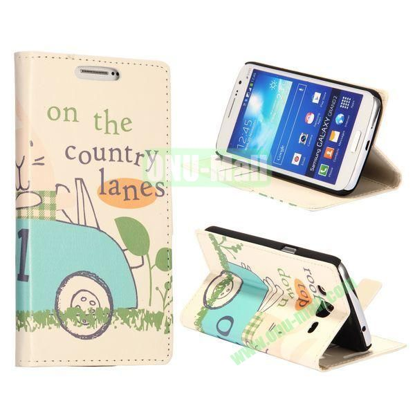 Blue Cartoon Car Pattern Wallet Style Flip Stand Leather Case with Card Slots for Samsung Galaxy Grand  G7106