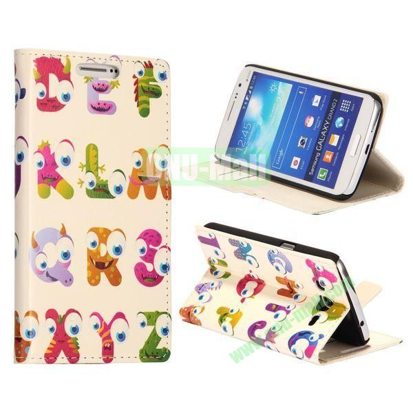 Cartoon English Letters Pattern Wallet Style Flip Stand Leather Case with Card Slots for Samsung Galaxy Grand  G7106