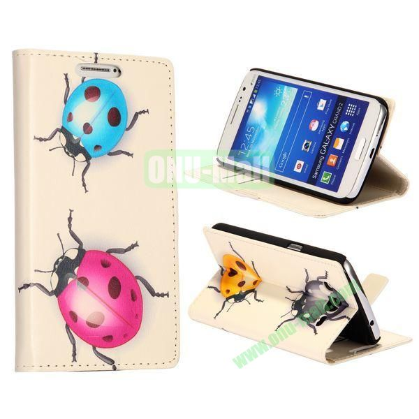 Cute Coccinella Septempunctata Pattern Wallet Style Flip Stand Leather Case with Card Slots for Samsung Galaxy Grand  G7106