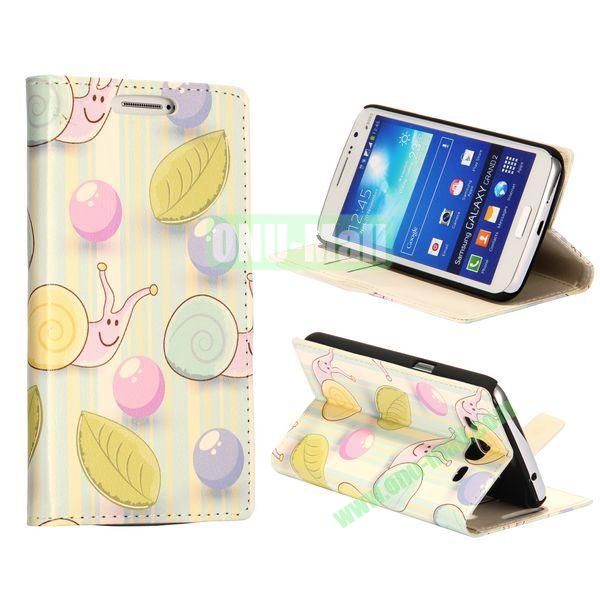 Cute Snails Pattern Wallet Style Flip Stand Leather Case with Card Slots for Samsung Galaxy Grand  G7106