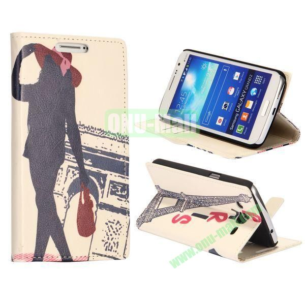 Girl of Triumphal Arch Pattern Wallet Style Flip Stand Leather Case with Card Slots for Samsung Galaxy Grand  G7106