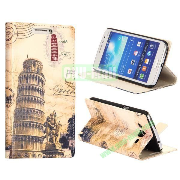 Tower of Pisa Pattern Wallet Style Flip Stand Leather Case with Card Slots for Samsung Galaxy Grand  G7106