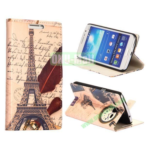 Eiffel Tower Pattern Wallet Style Flip Stand Leather Case with Card Slots for Samsung Galaxy Grand  G7106