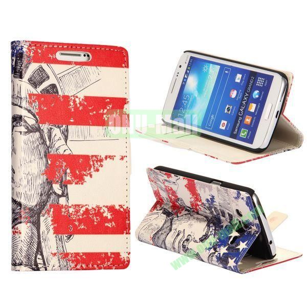 Statue of Liberty Pattern Wallet Style Flip Stand Leather Case with Card Slots for Samsung Galaxy Grand  G7106