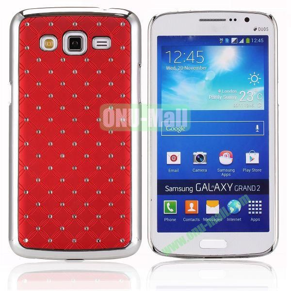 Starry Sky Stars Pattern Aluminum Hard Shell Case for Samsung Galaxy Grand 2  G7106 (Red)