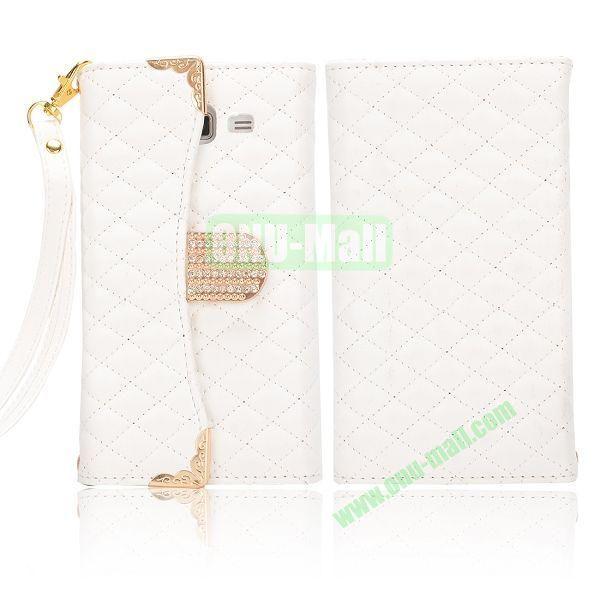 Grid Pattern Diamond Handbag Leather Case for Samsung G7106 Galaxy Grand 2 (White)