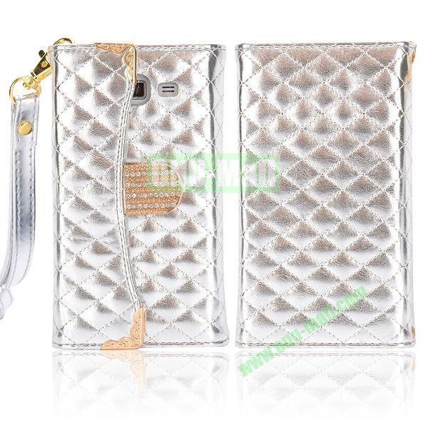 Grid Pattern Diamond Handbag Leather Case for Samsung G7106 Galaxy Grand 2 (Silver)