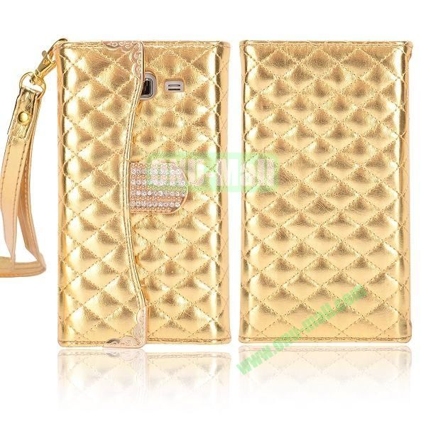Grid Pattern Diamond Handbag Leather Case for Samsung G7106 Galaxy Grand 2 (Golden)