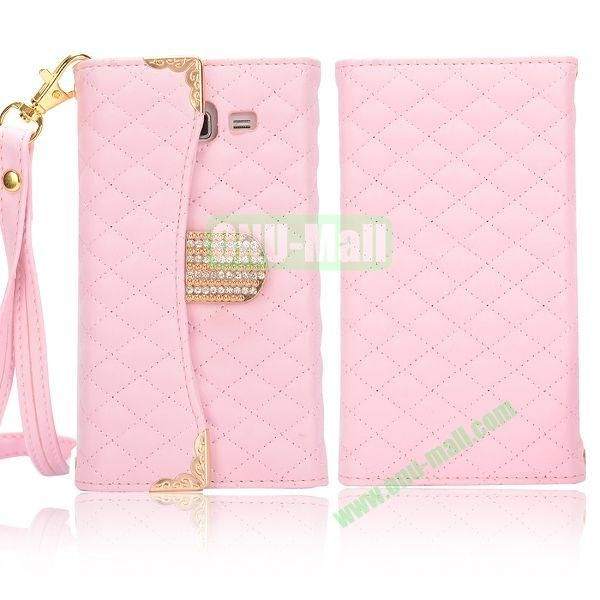 Grid Pattern Diamond Handbag Leather Case for Samsung G7106 Galaxy Grand 2 (Pink)