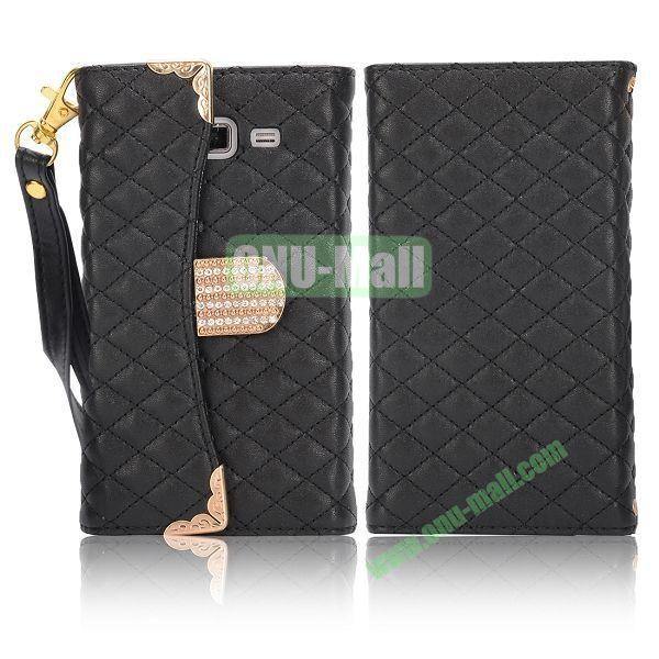 Grid Pattern Diamond Handbag Leather Case for Samsung G7106 Galaxy Grand 2 (Black)