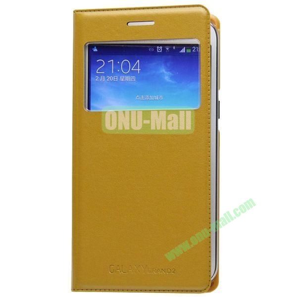 Business Type Flip Leather Case for Samsung Galaxy Grand 2 G7106 with Call ID Display and Chip (Yellow)