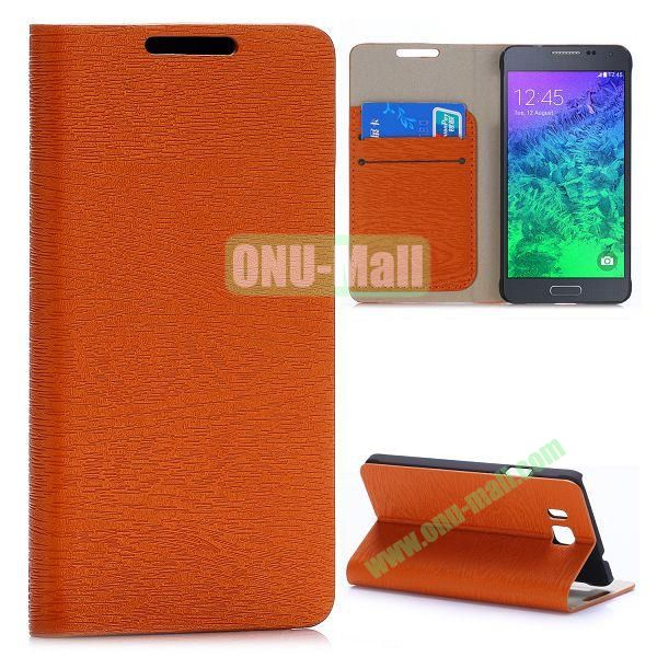 Wood Grain Magnetic Flip Stand Leather Case for Samsung Galaxy Alpha G850F G850A with Card Slots (Brown)