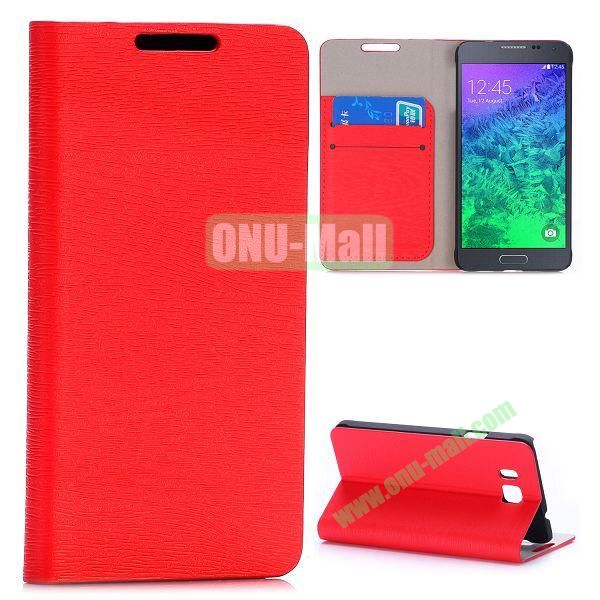 Wood Grain Magnetic Flip Stand Leather Case for Samsung Galaxy Alpha G850F G850A with Card Slots (Red)