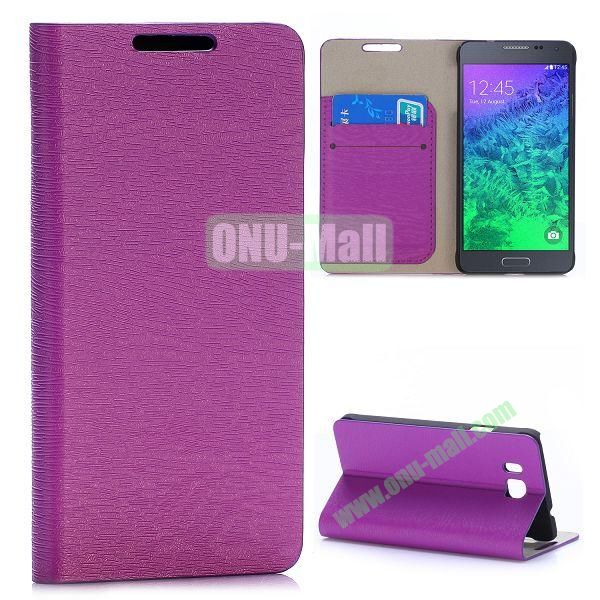 Wood Grain Magnetic Flip Stand Leather Case for Samsung Galaxy Alpha G850F G850A with Card Slots (Purple)
