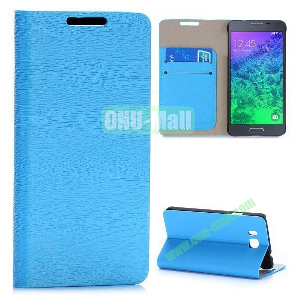 Wood Grain Magnetic Flip Stand Leather Case for Samsung Galaxy Alpha G850F G850A with Card Slots (Light Blue)