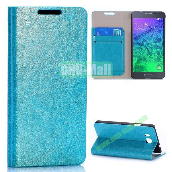 Crazy Horse Texture Magnetic Flip Stand Leather Case for Samsung Galaxy Alpha G850F G850A with Card Slots (Cyan)