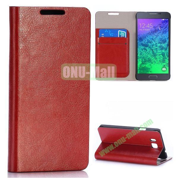 Crazy Horse Texture Magnetic Flip Stand Leather Case for Samsung Galaxy Alpha G850F G850A with Card Slots (Brown)