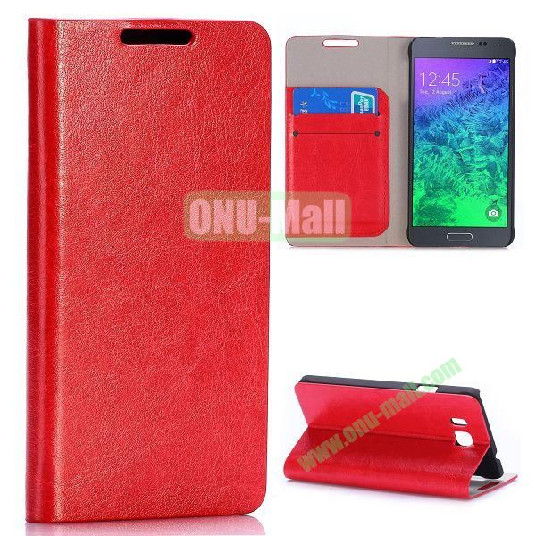 Crazy Horse Texture Magnetic Flip Stand Leather Case for Samsung Galaxy Alpha G850F G850A with Card Slots (Red)