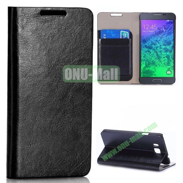 Crazy Horse Texture Magnetic Flip Stand Leather Case for Samsung Galaxy Alpha G850F G850A with Card Slots (Black)