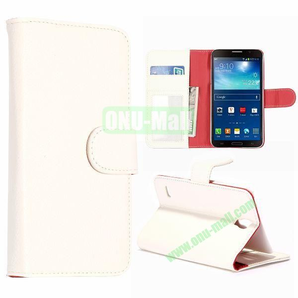 Litchi Texture Magnetic Leather Case for Samsung Galaxy Round  G910 with Card Slots and Holder (White)