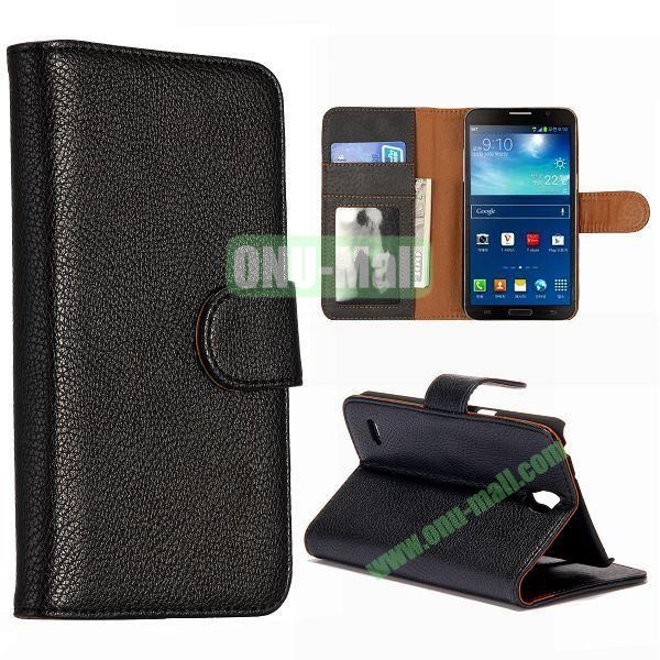 Litchi Texture Magnetic Leather Case for Samsung Galaxy Round  G910 with Card Slots and Holder (Black)