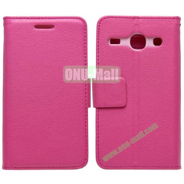 Litchi Texture Leather Case with Card Slots and Holder for Samsung Galaxy Core I8262 (Rose)
